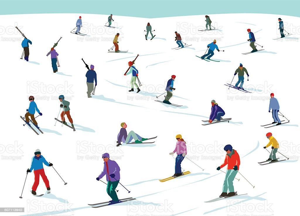 Skiiing fun vector art illustration
