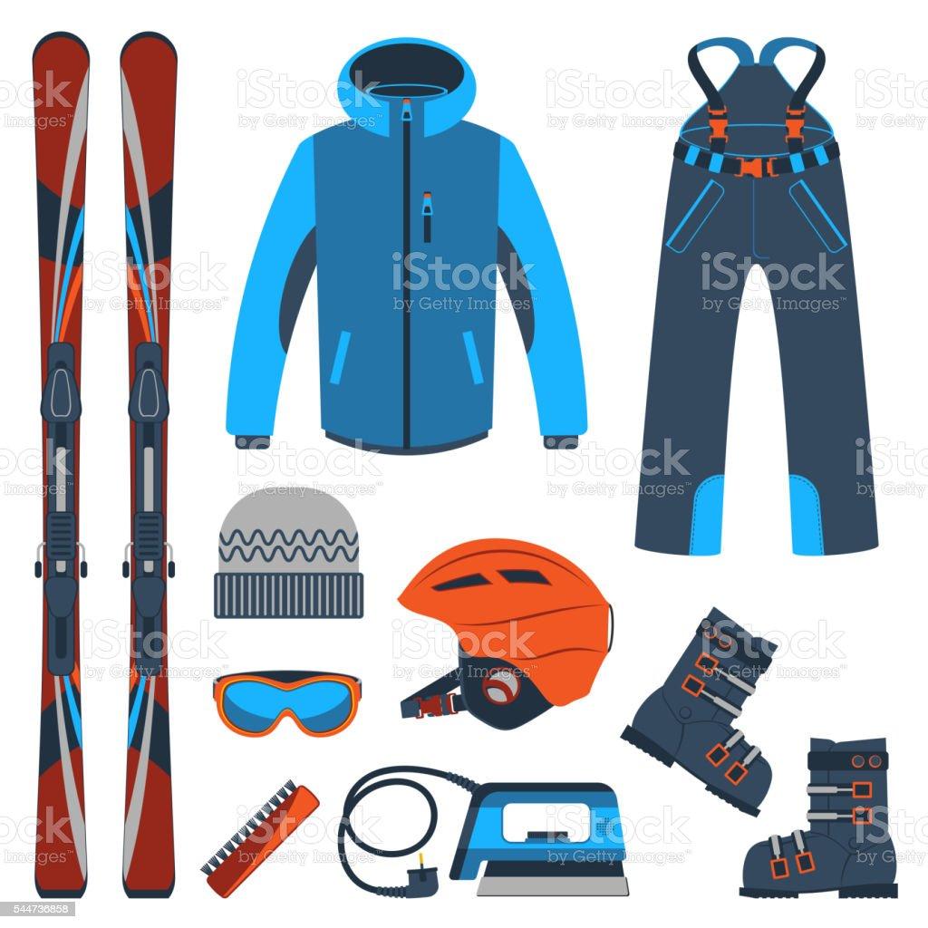 Ski equipment or ski kit. Extreme winter sports. Ski, goggles, boots...