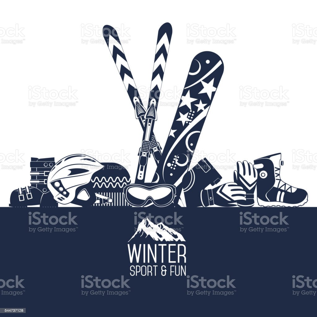 Skiing. Extreme winter sports. vector art illustration
