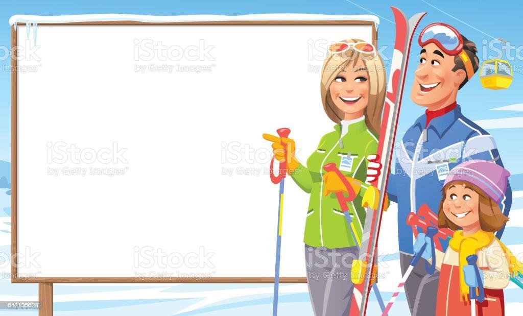 Skiing Family Looking At Sign vector art illustration