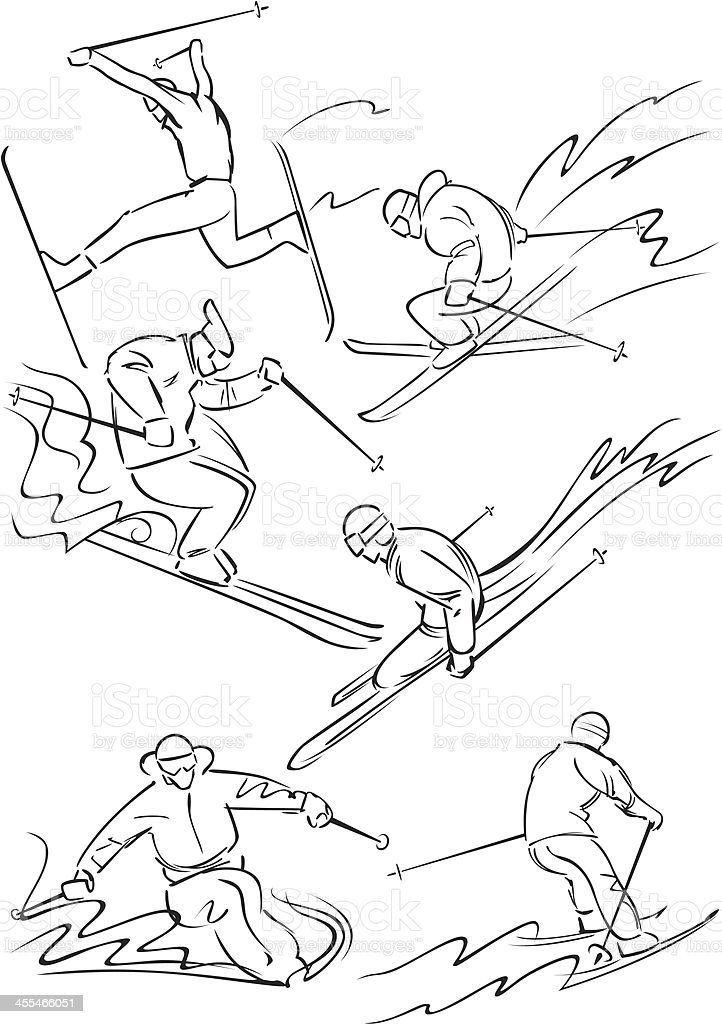 Skiing figures 2 vector art illustration