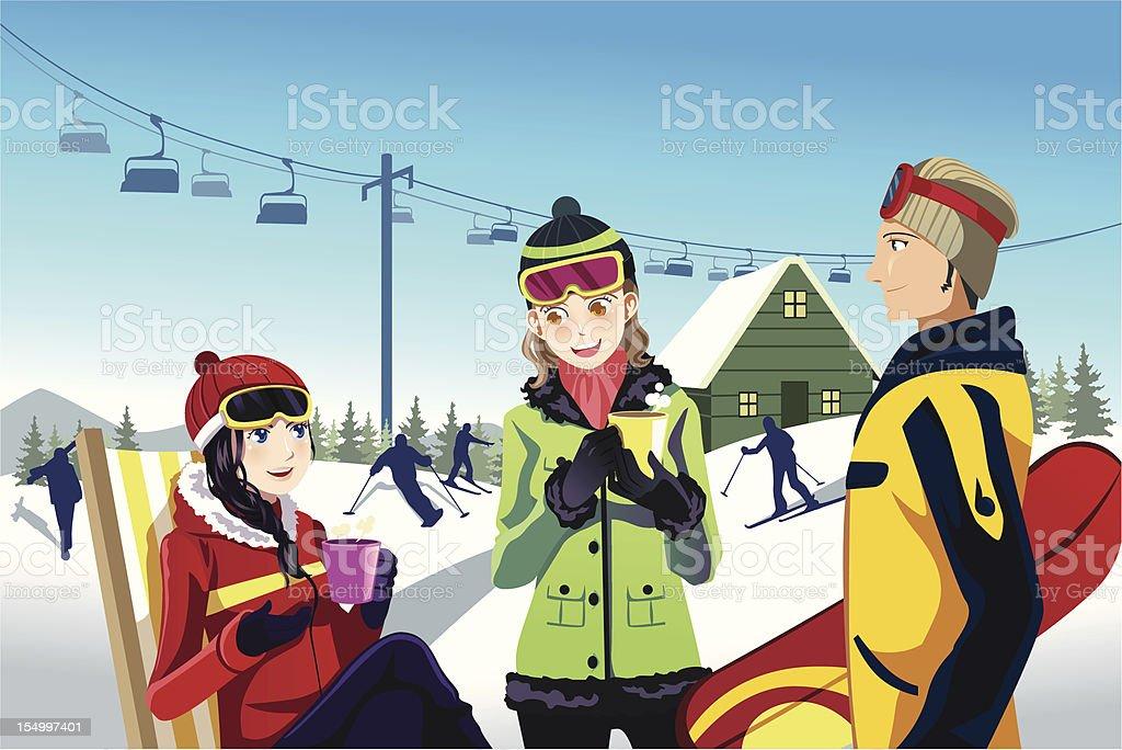 Skiing friends vector art illustration