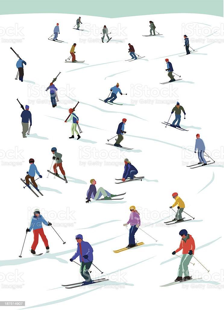 Skiing fun vector art illustration
