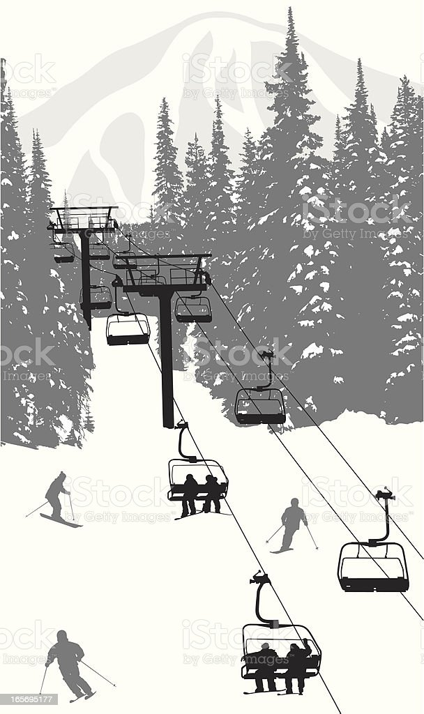 Skiing Hills Vector Silhouette vector art illustration