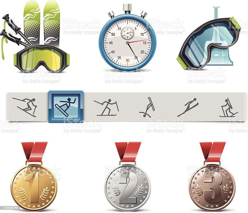 Skiing icon set royalty-free stock vector art