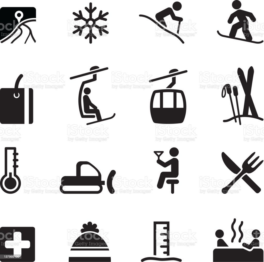 Skiing icons vector art illustration
