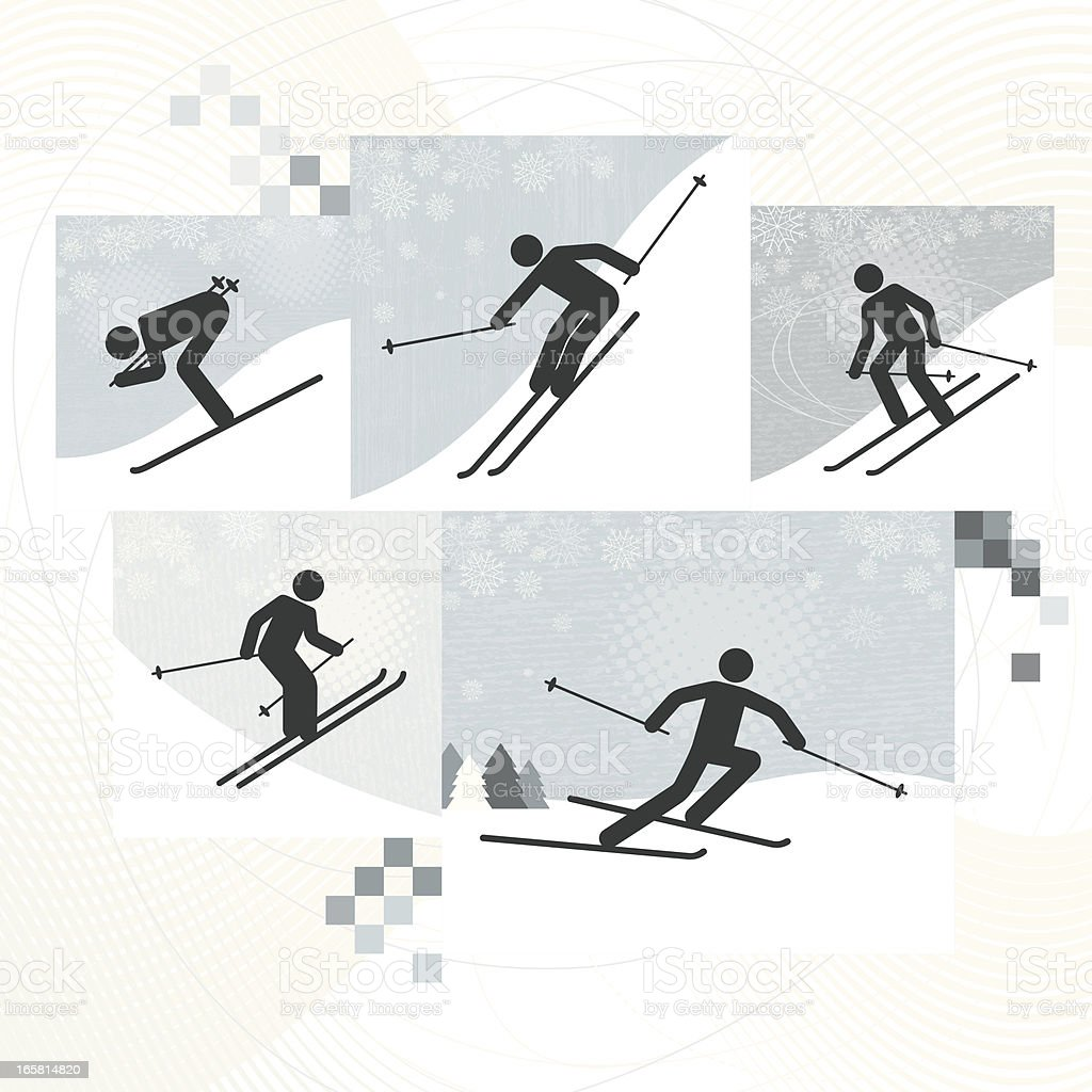 Skiing Icons royalty-free stock vector art