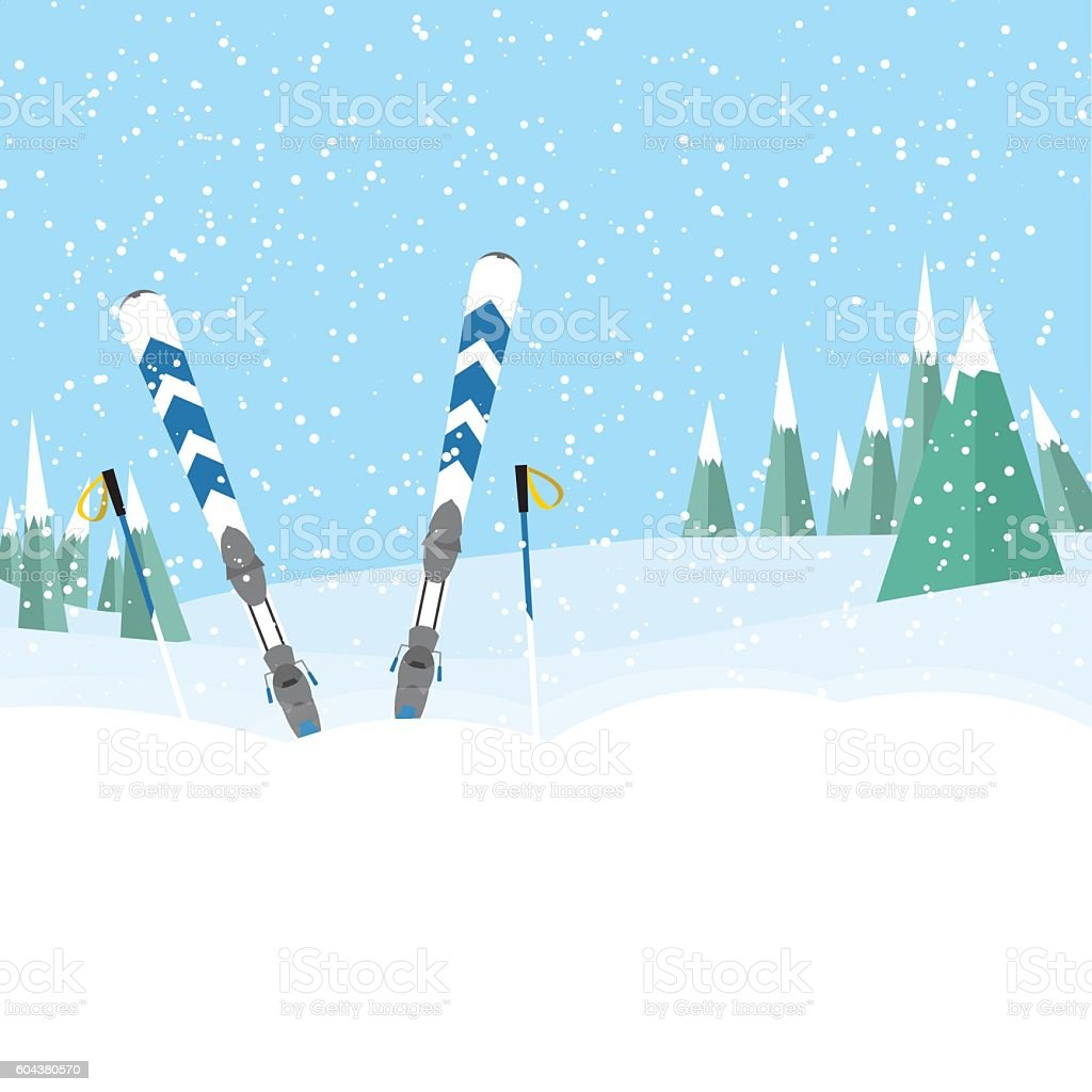 skiing in the forest standing in the snow with sticks