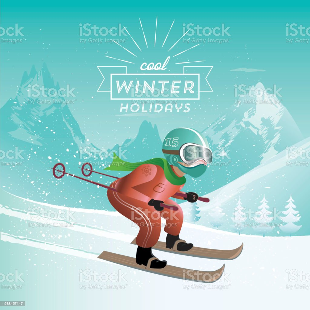 skiing in the mountains vector art illustration