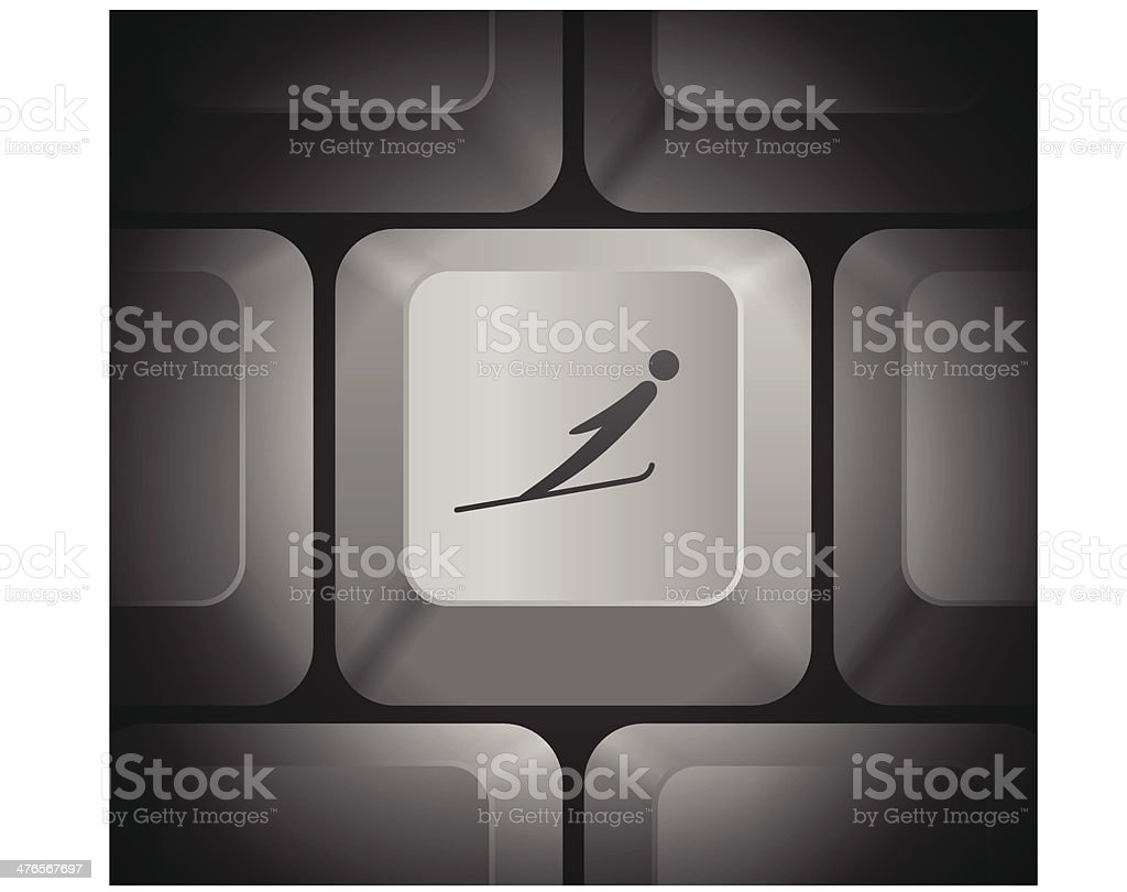 Skiing Man Icon on Computer Keyboard royalty-free stock vector art