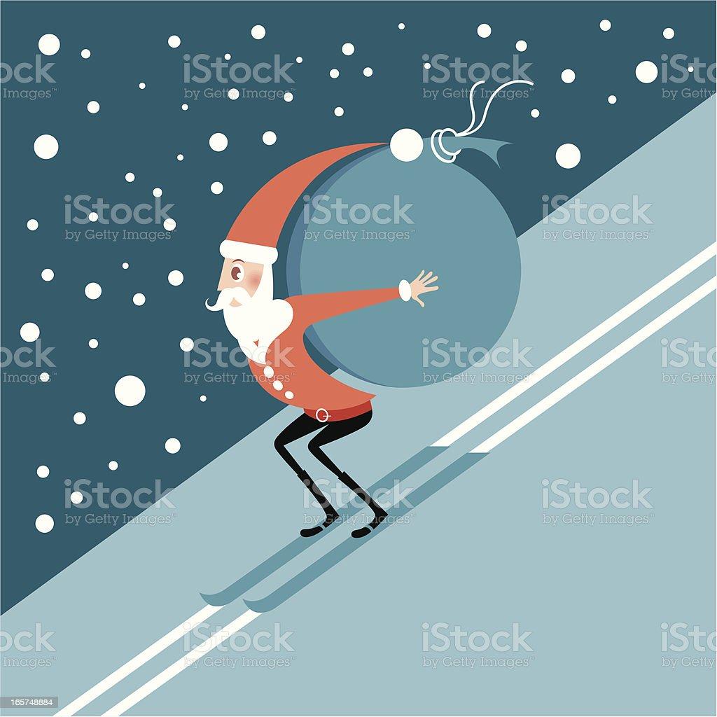 Skiing Santa. royalty-free stock vector art