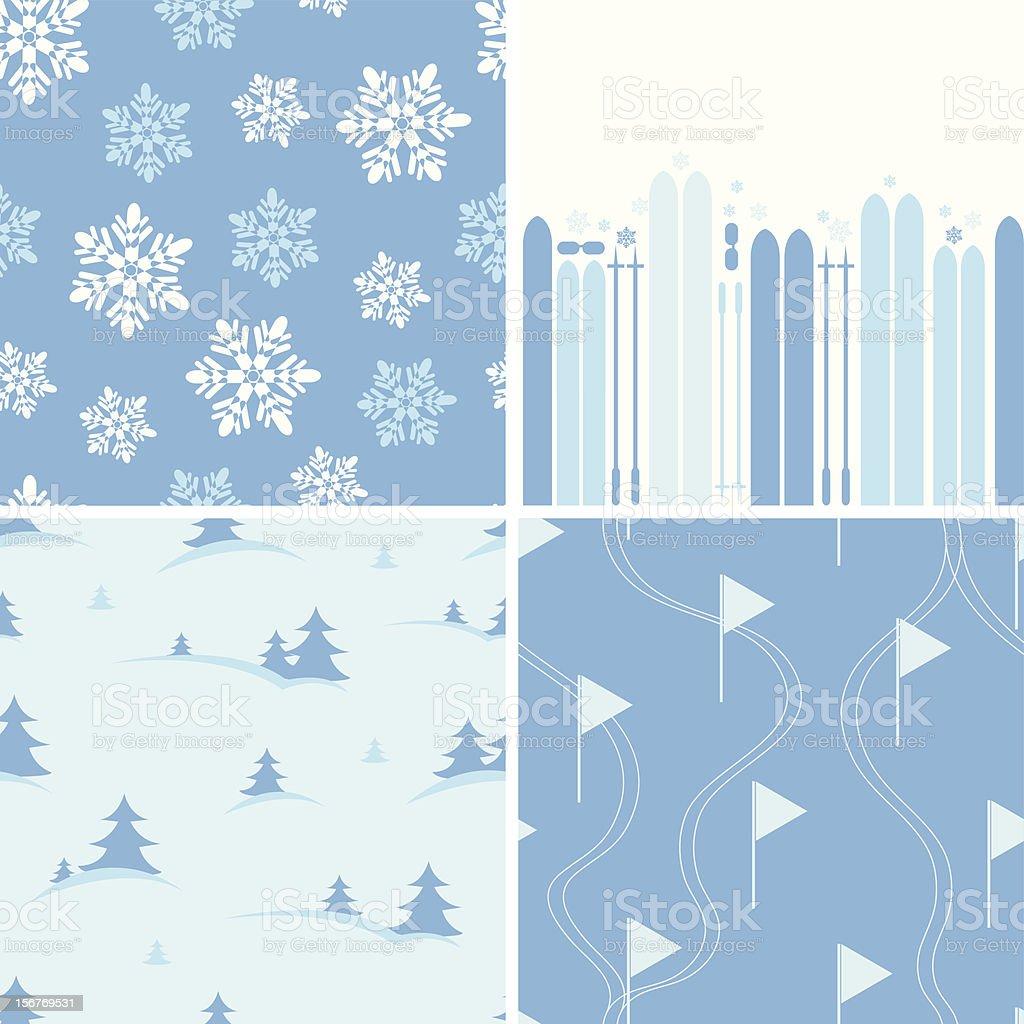 Skiing Seamless Patterns Set royalty-free stock vector art