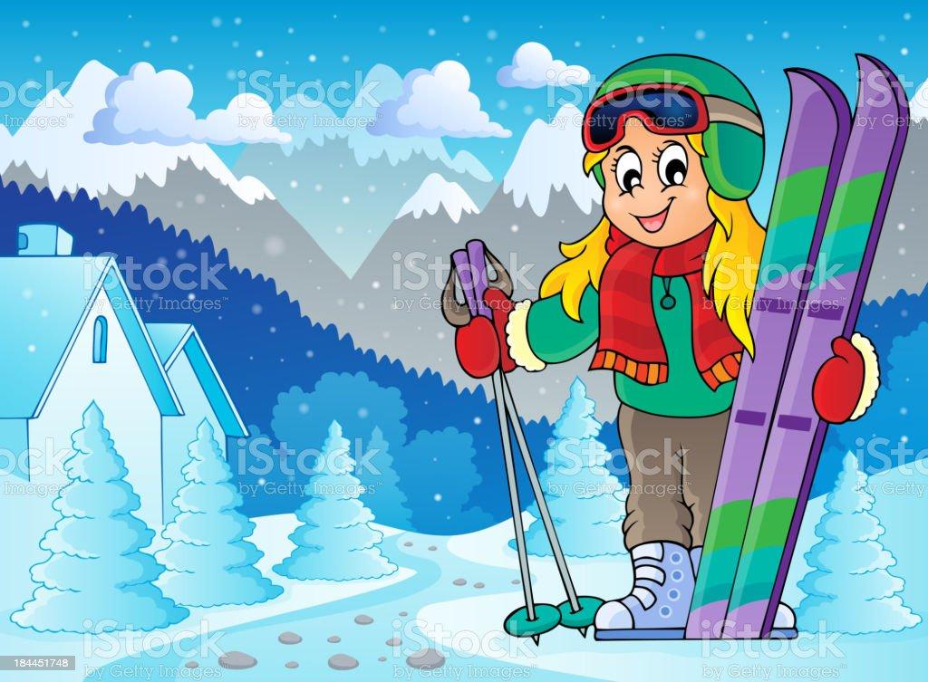 Skiing theme image 2 royalty-free stock vector art