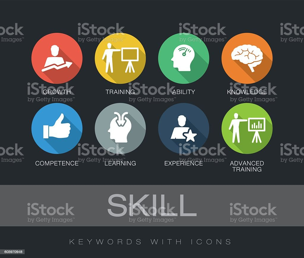Skill keywords with icons vector art illustration