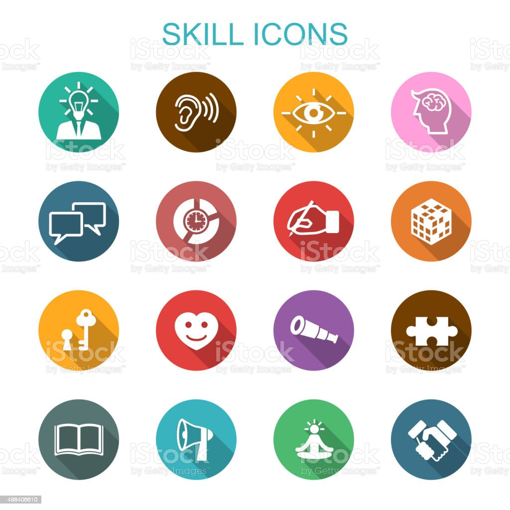 skill long shadow icons vector art illustration