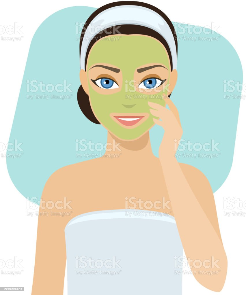 Skin care - mask vector art illustration