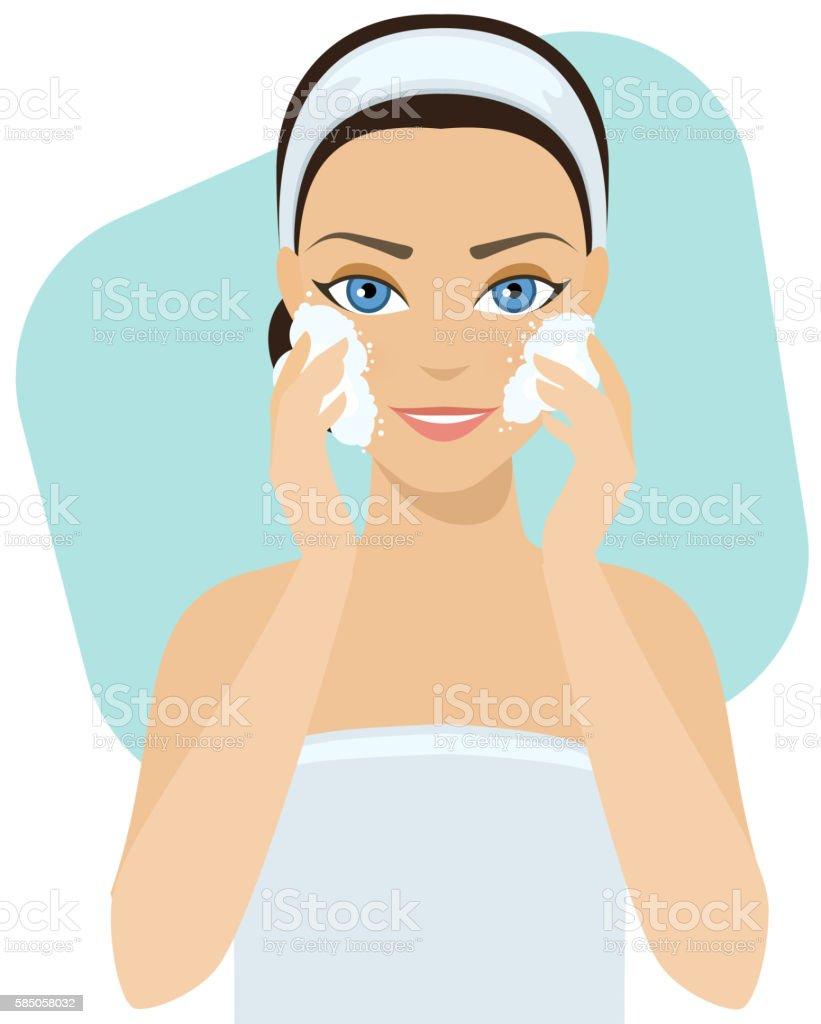 Skin care - soap vector art illustration
