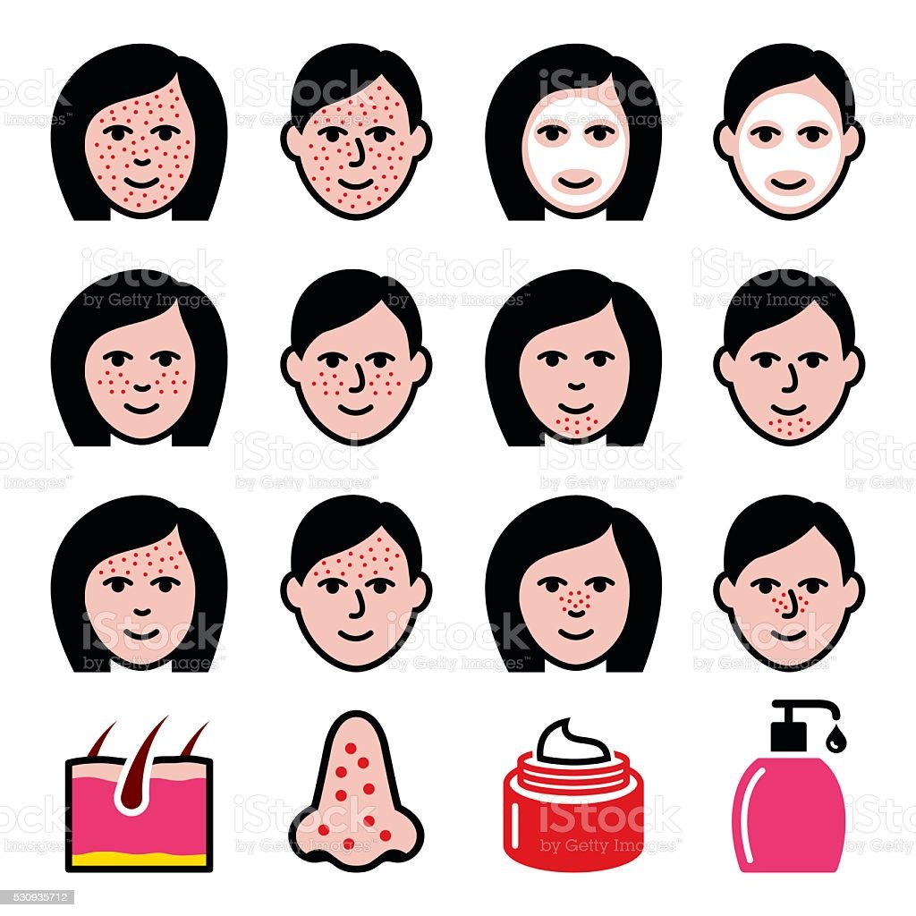 Skin problems - acne, spots treatment icons set vector art illustration