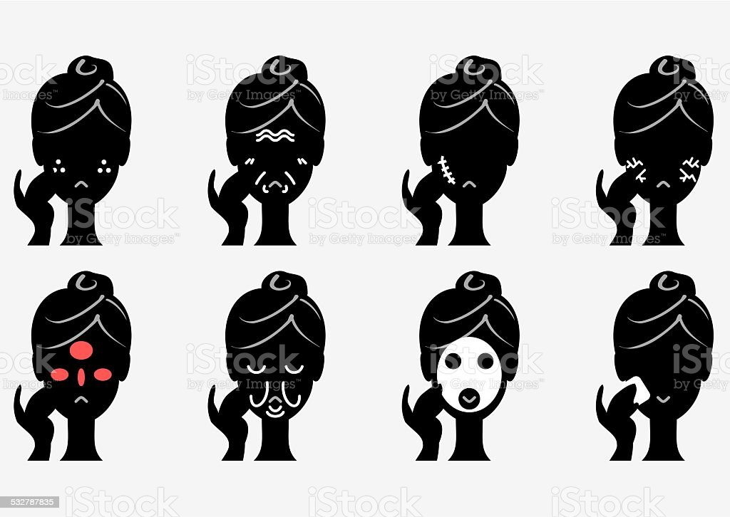 skin Trouble and skin care vector art illustration
