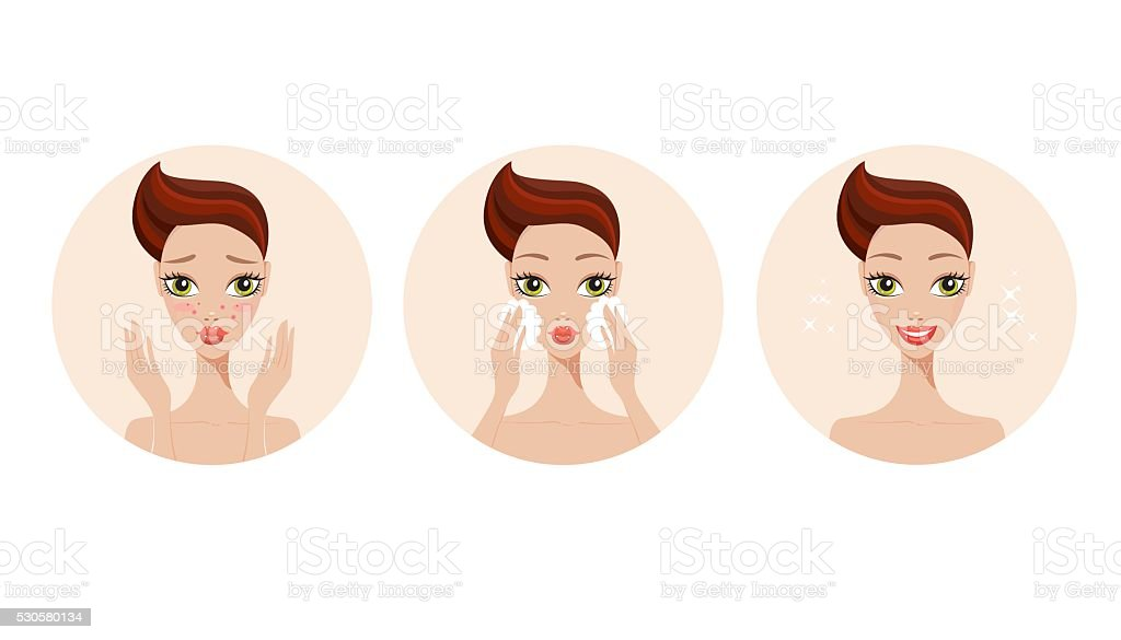 Skincare and acne treatment steps Girl applying face beauty product vector art illustration