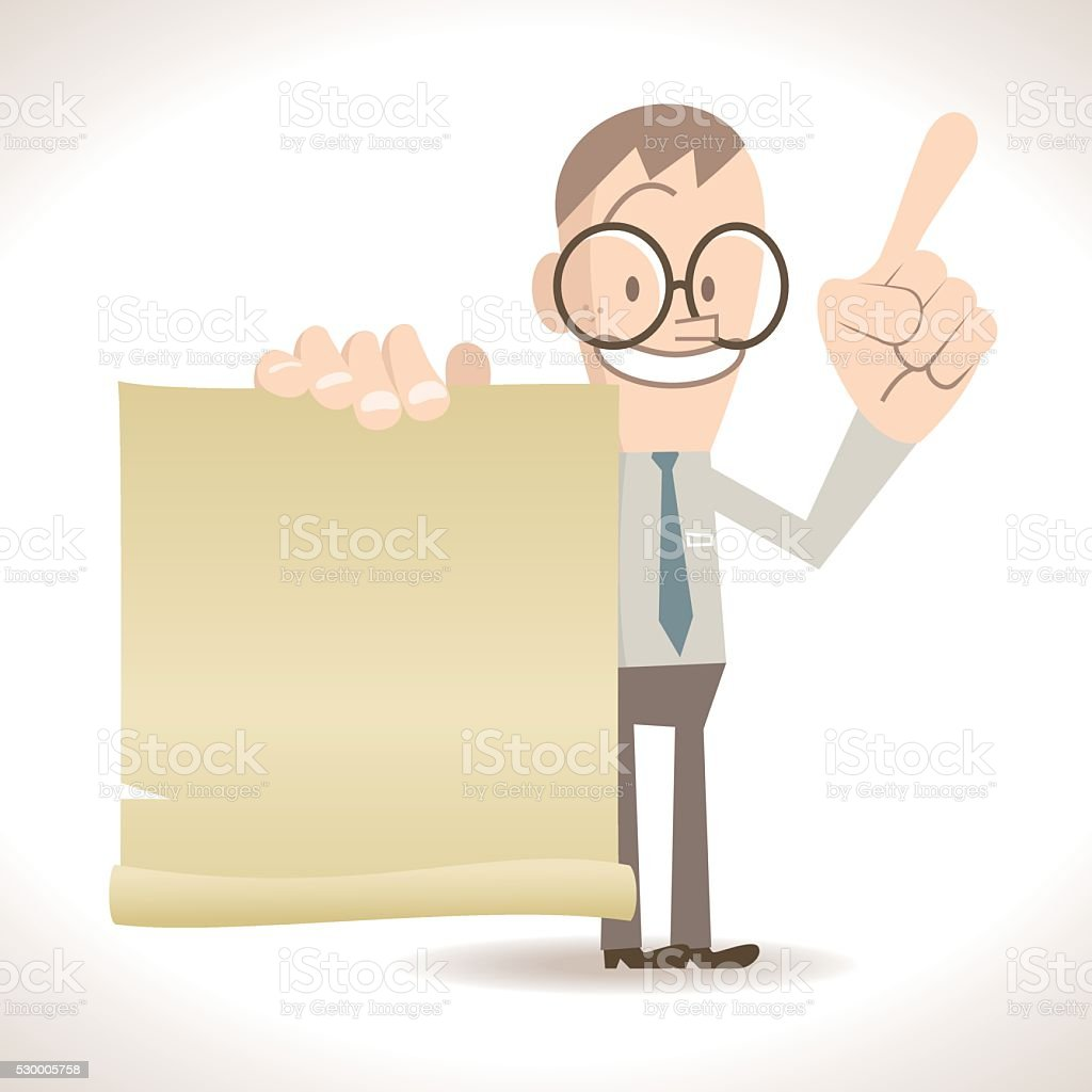 Skinny businessman talking with blank paper, pointing with index finger vector art illustration