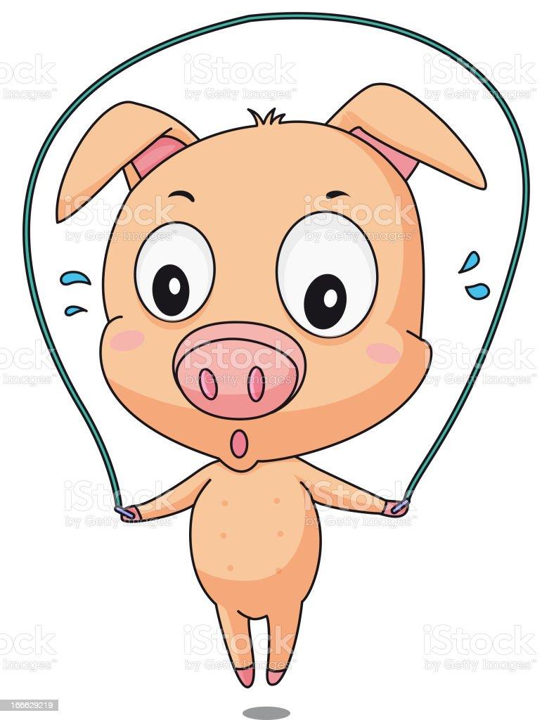 Skipping pig royalty-free stock vector art