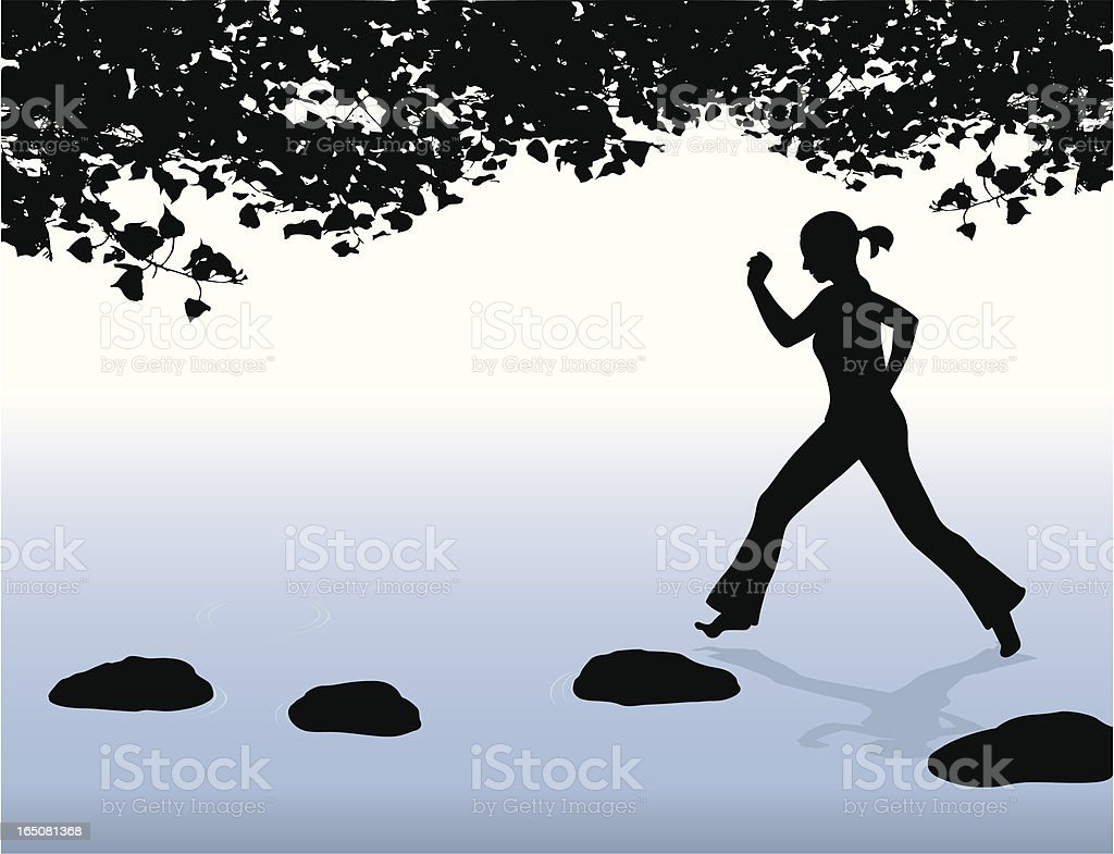 Skipping Stones Vector Silhouette royalty-free stock vector art