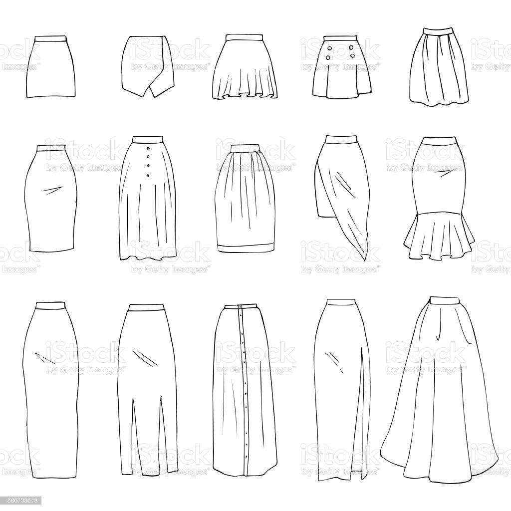 Skirts vector art illustration