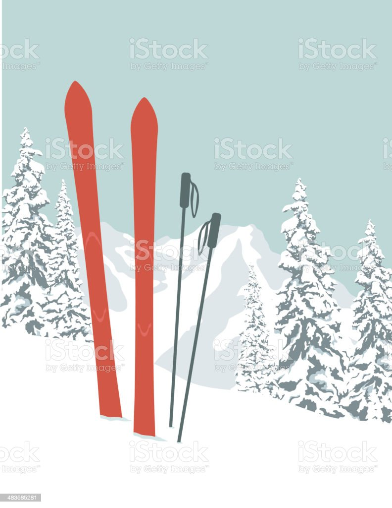 Skis vector art illustration