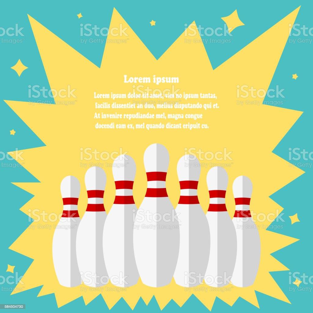 Skittles for bowling on a vintage background. Illustration white vector art illustration