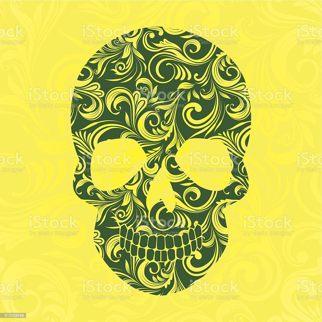 Skul Swirl Yellow Ornamental vector art illustration