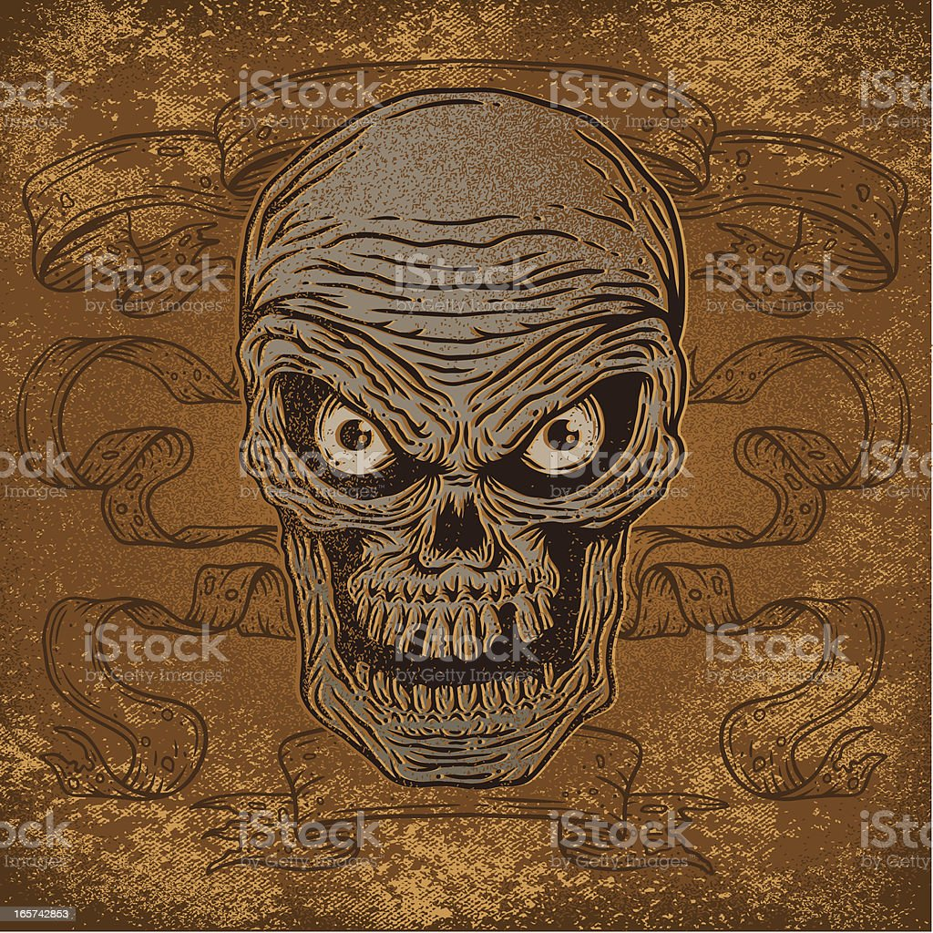 Skull and Banners royalty-free stock vector art