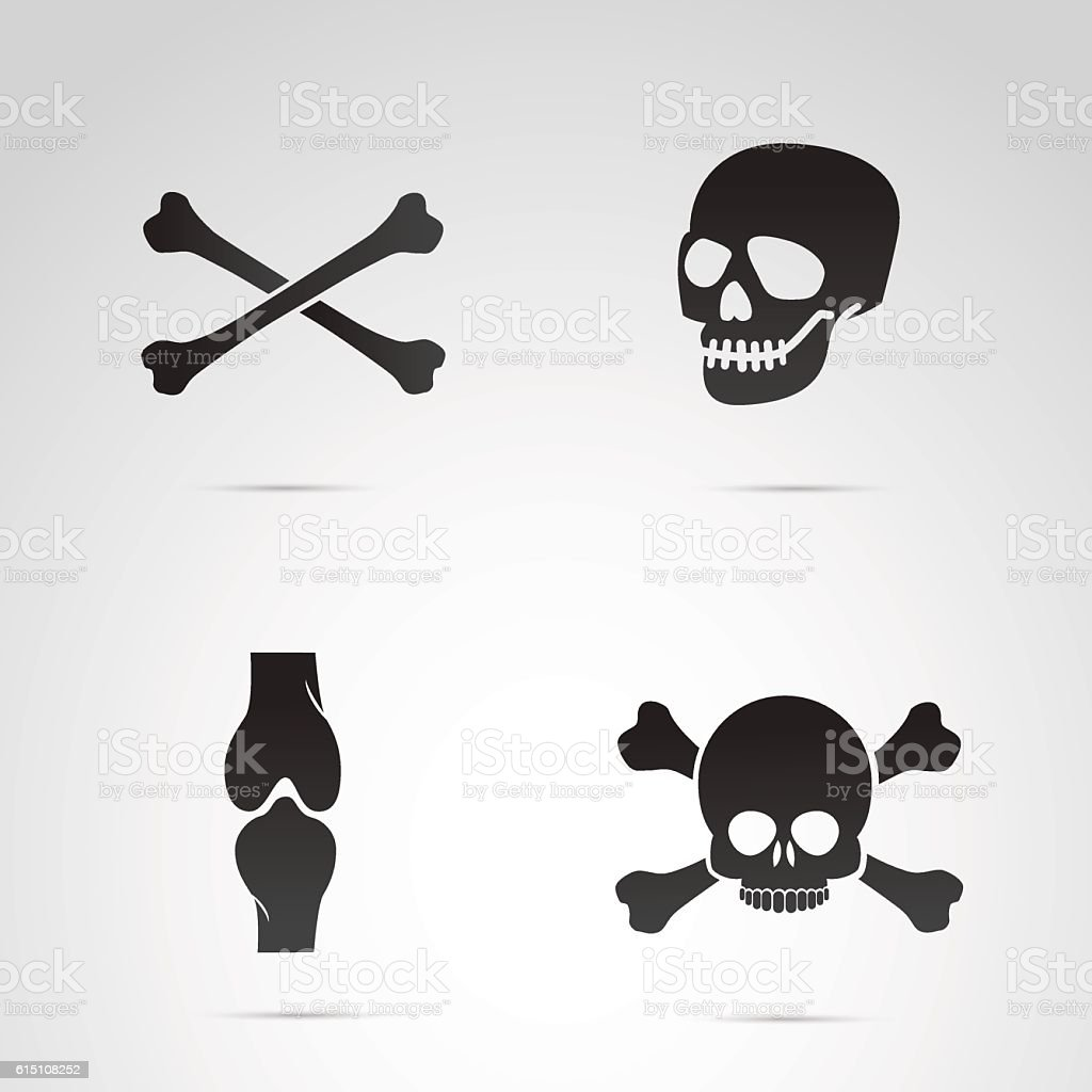 Skull and bones vector icon set. vector art illustration