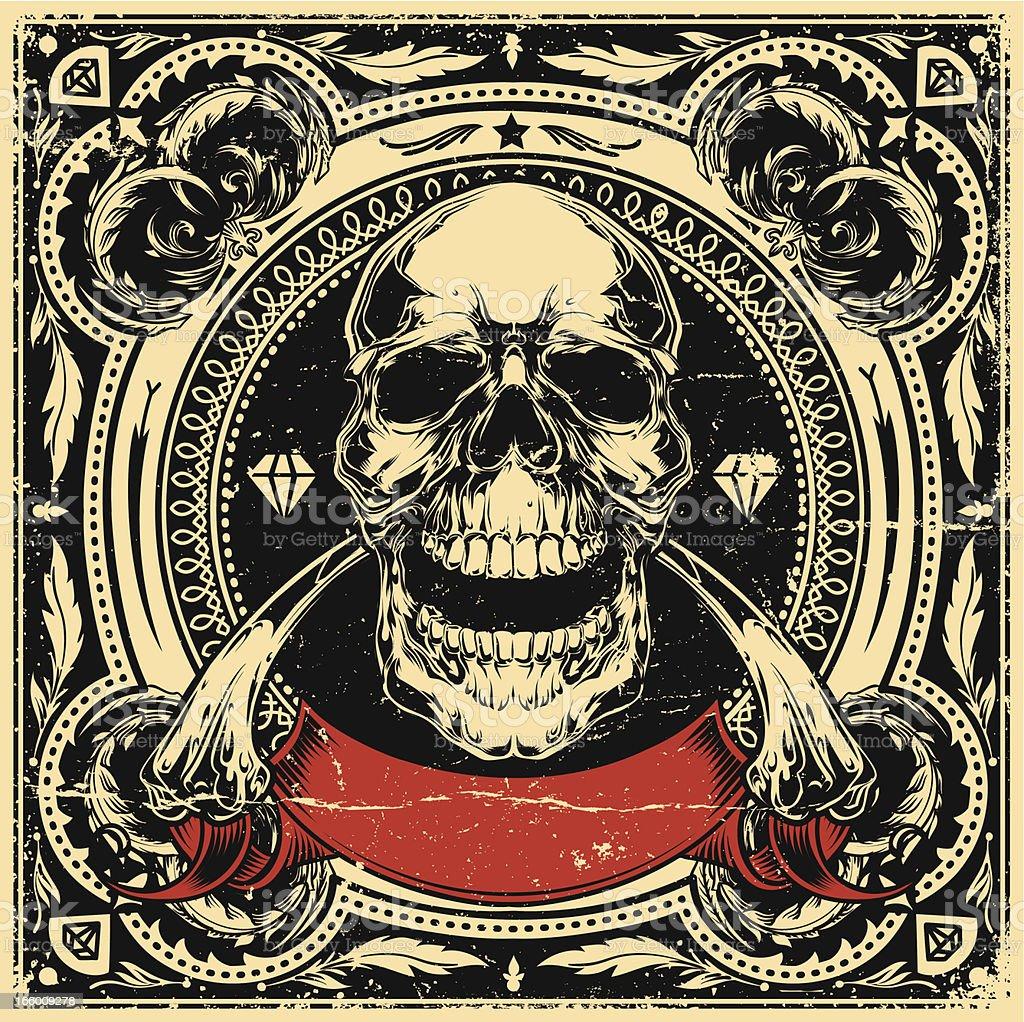 Skull and bones vector art illustration