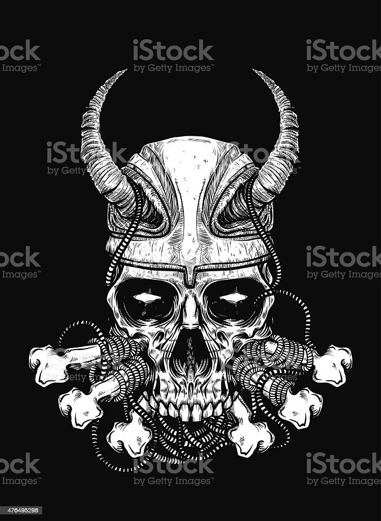 Skull and Bones vector art illustration