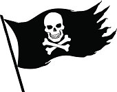 A skull and crossbones black and white pirate flag