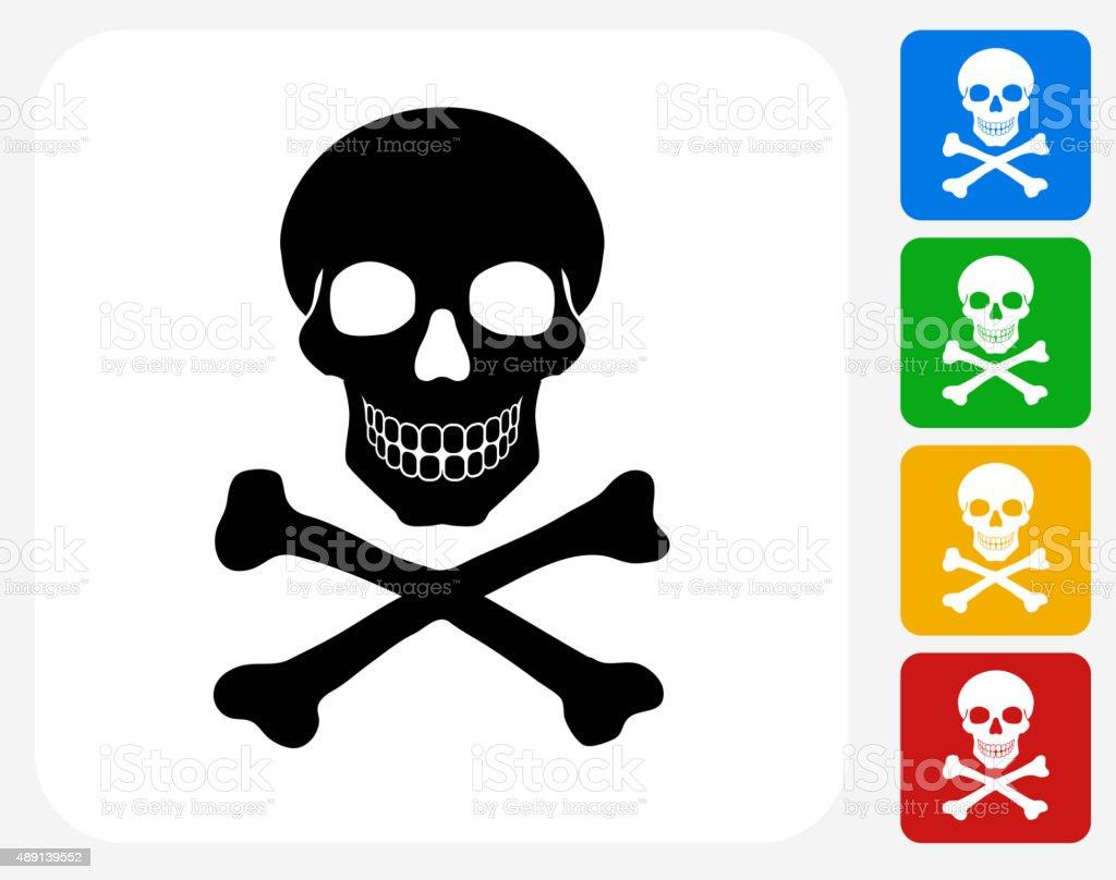 Skull and Crossbones Icon Flat Graphic Design vector art illustration