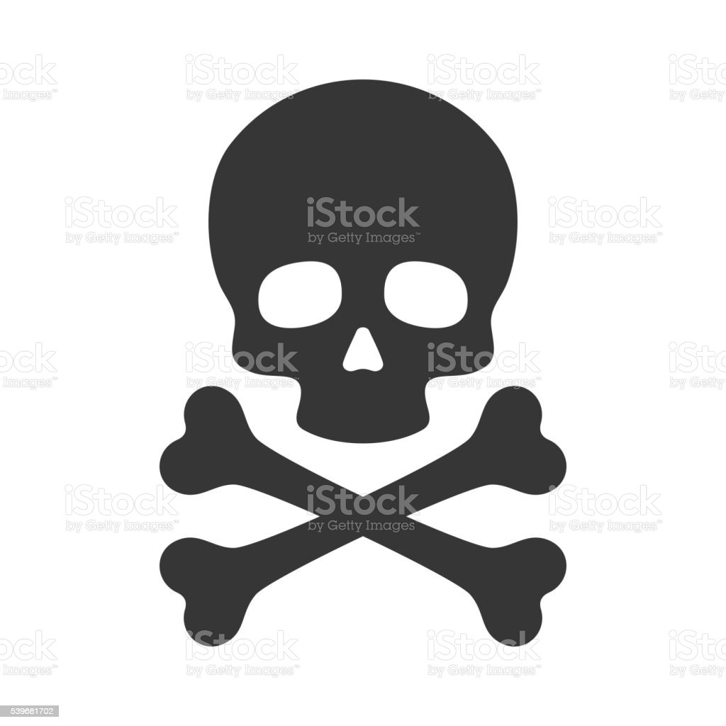 Skull and Crossbones Icon on White Background. Vector vector art illustration