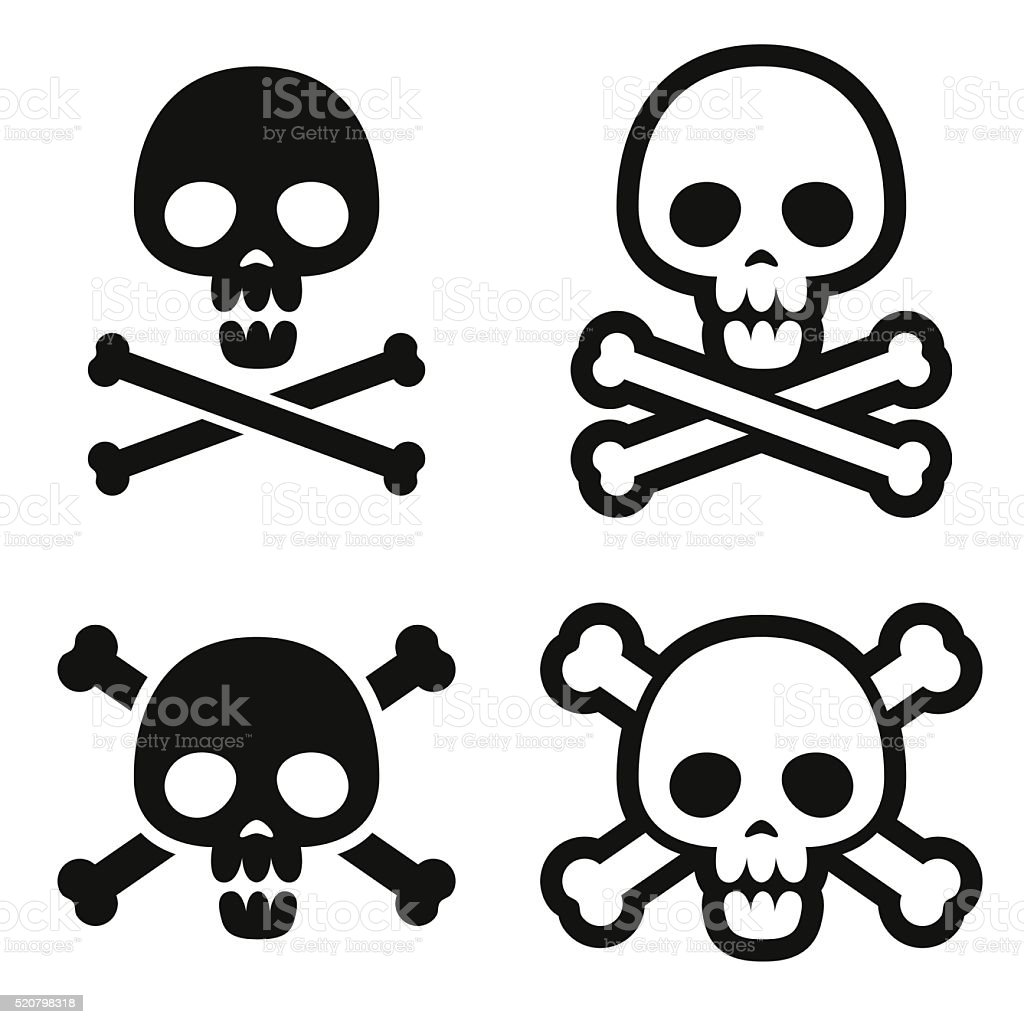 Skull and crossbones icons vector art illustration