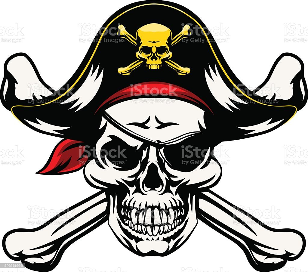 Skull and Crossbones Pirate vector art illustration