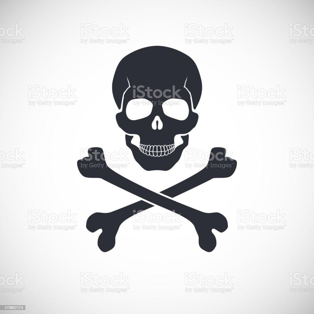 Skull and crossbones sign. vector art illustration