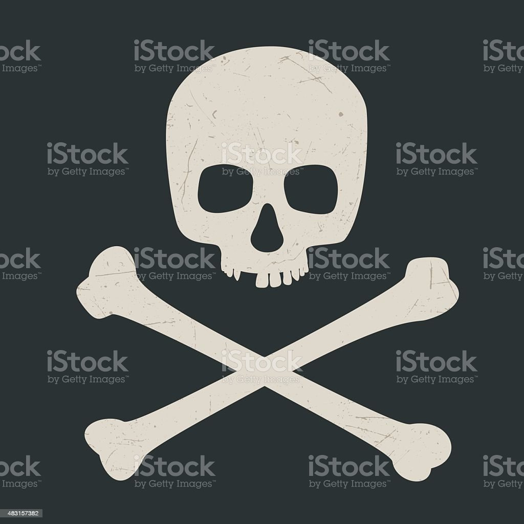 Skull and crossbones vector art illustration