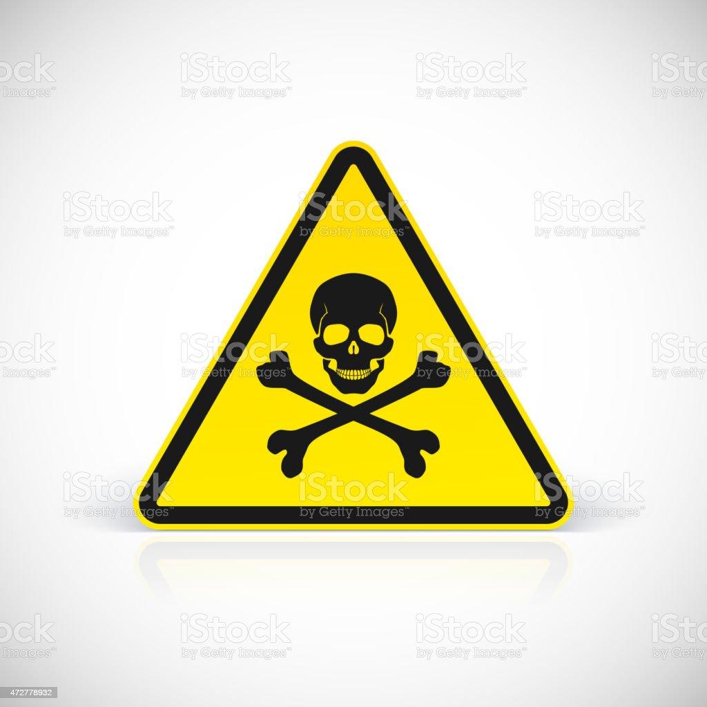 Skull and crossbones warning hazard sign vector art illustration