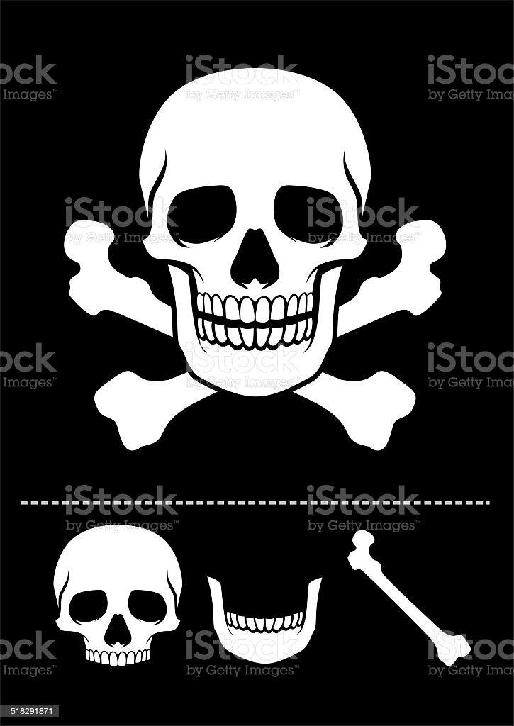 skull and crossed bones icon vector art illustration