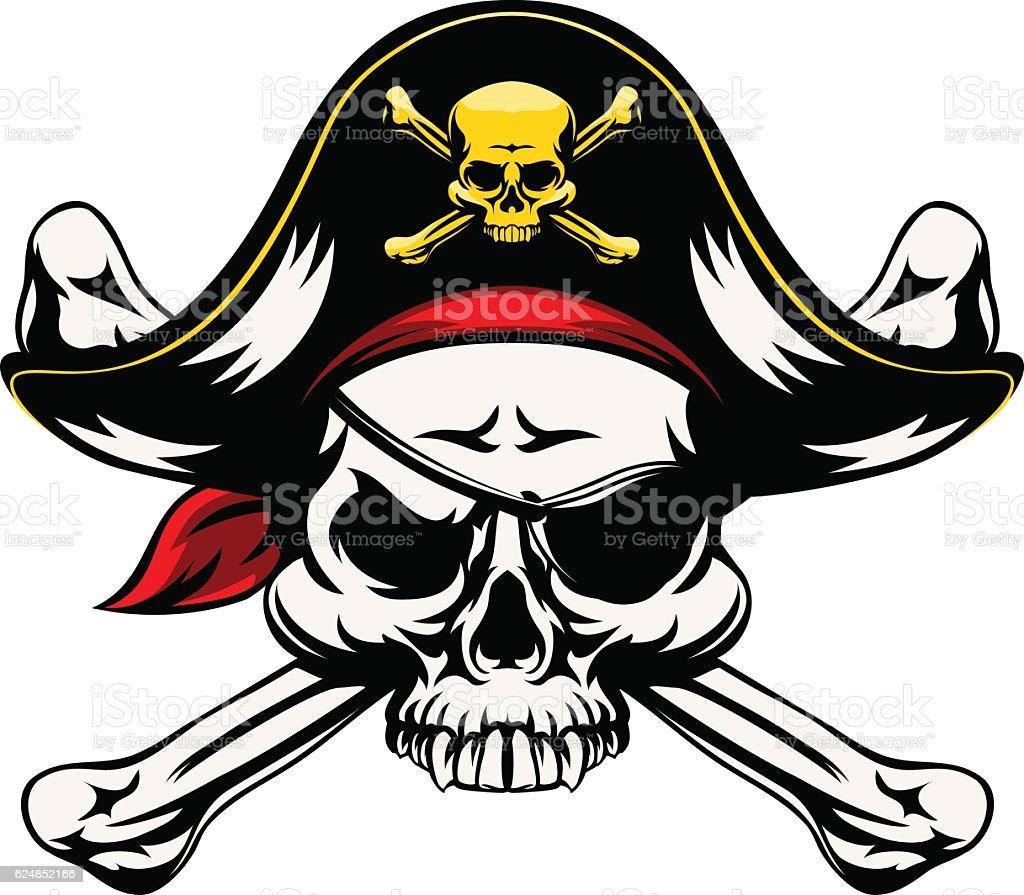 Skull and Crossed Bones Pirate vector art illustration