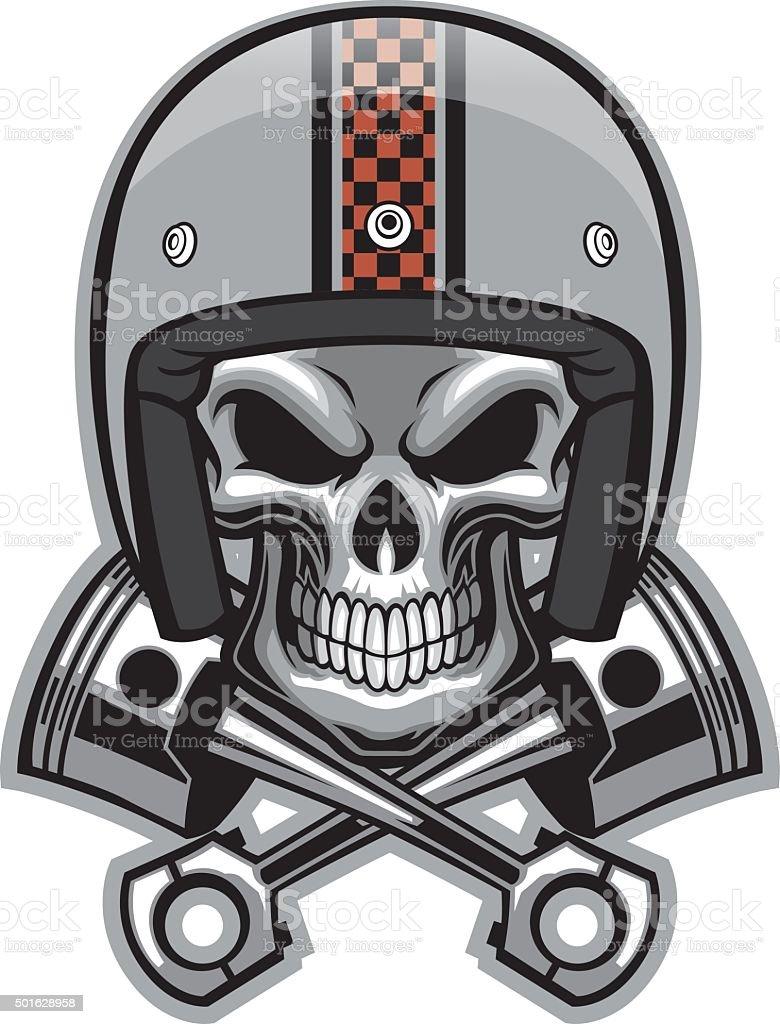 skull and crossed piston vector art illustration