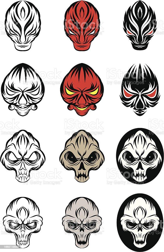 Skull and Devil Vector Set royalty-free stock vector art