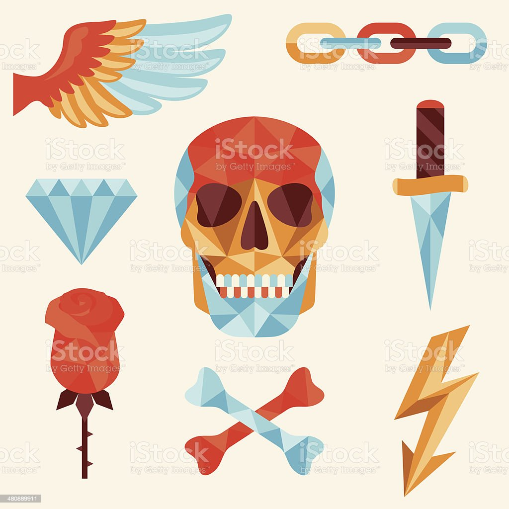 Skull and elements with colored geometric design. royalty-free stock vector art