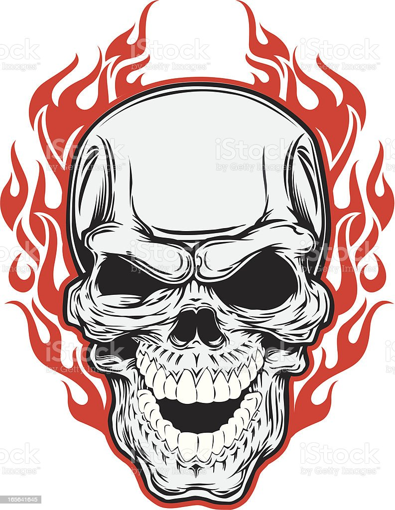 skull and flames royalty-free stock vector art