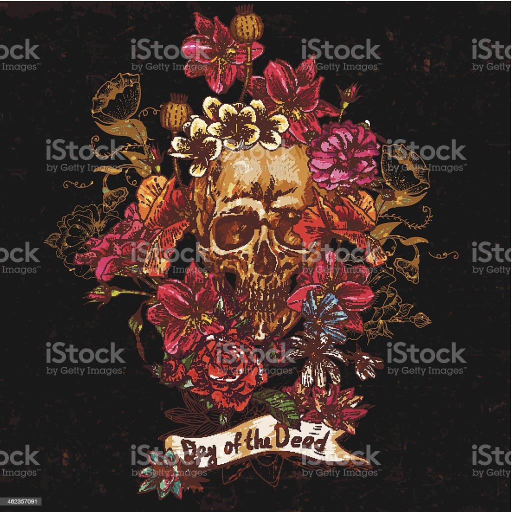 Skull and Flowers Day of The Dead vector art illustration